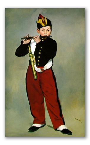 Il Pifferaio di Manet quadro di fanciullo militare