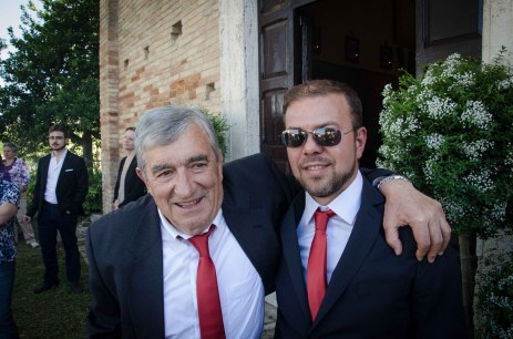 Pietro's dad and Stefano hanging our just before the wedding ceremony