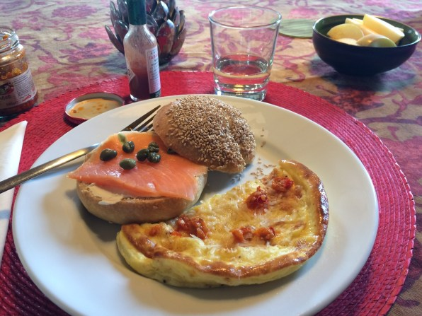 Sesame bagel with lox, cream cheese & capers, with a simple, delicious frittata on the side