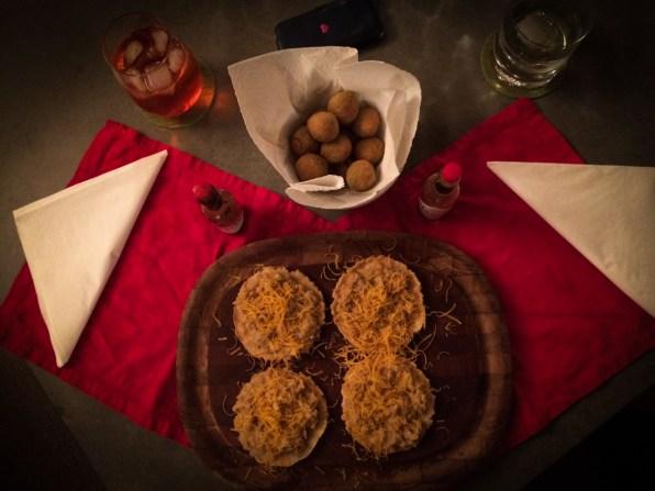 White bean tostadas & fried olives
