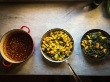 From left: chana masala (chickpeas), aloo mattar (potatoes and peas), saag paneer (spinach and cheese)