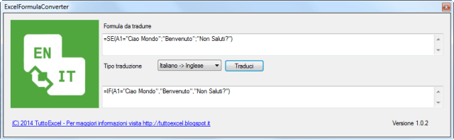 Programma per la traduzione di formule excel da italiano a inglese e viceversa