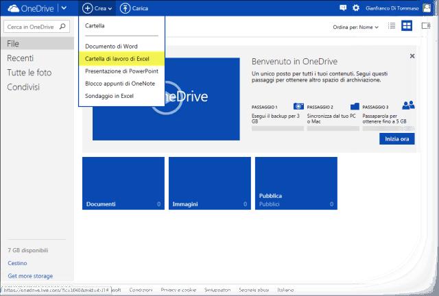 Crea cartella di lavoro Excel su OneDrive