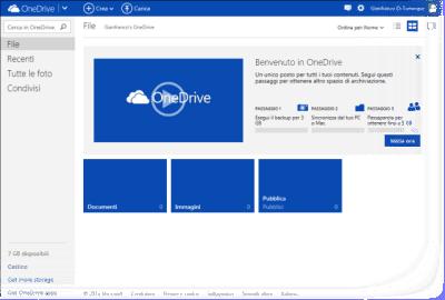 Pagina iniziale di OneDrive