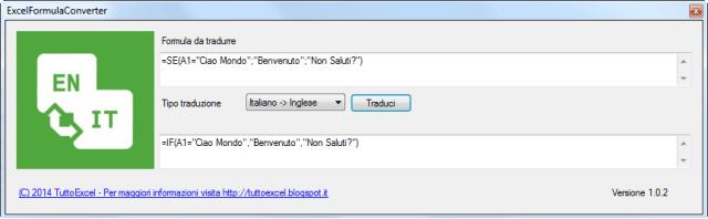 Screenshot di Excel Formula Converter