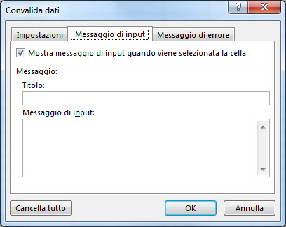 messaggio di input