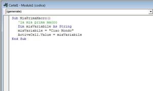 prima macro in Excel