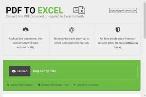 La pagina di PDF To Excel