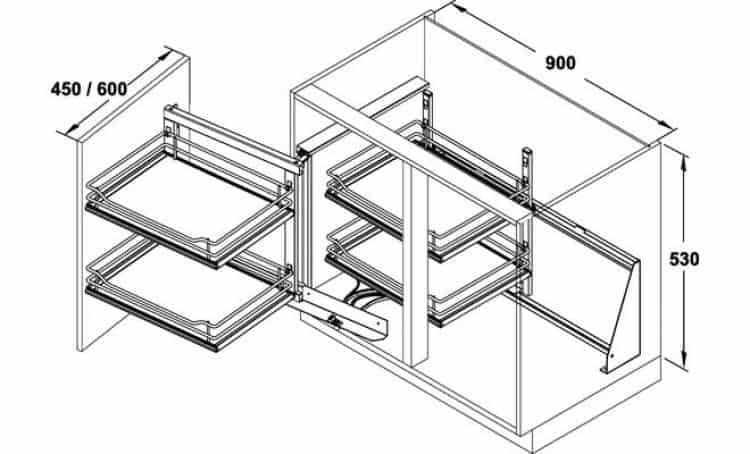 Telaio WaCo meccanismo estraibile per mobili base ad