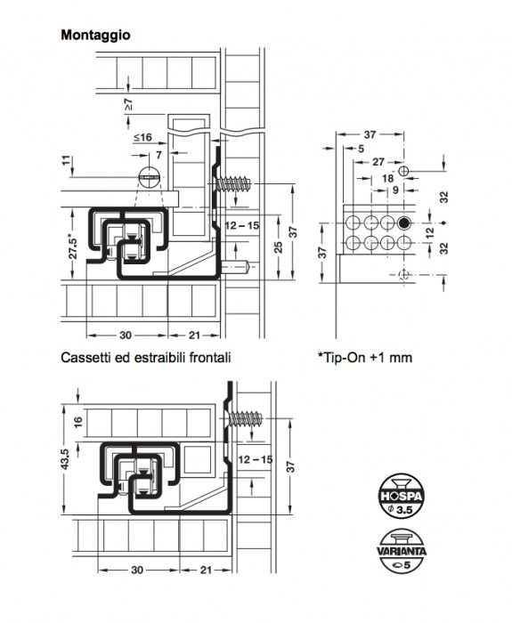 Guida per cassetti TANDEMPLUS 30kg lunghezza 500 con Blumotion