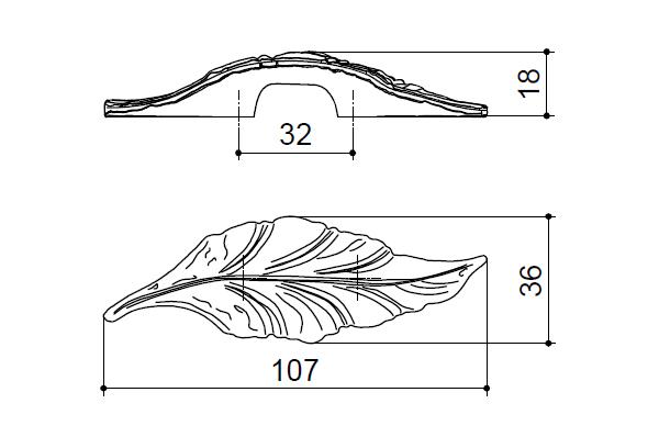 Maniglia per mobile foglia serie Daphne 107x36x18