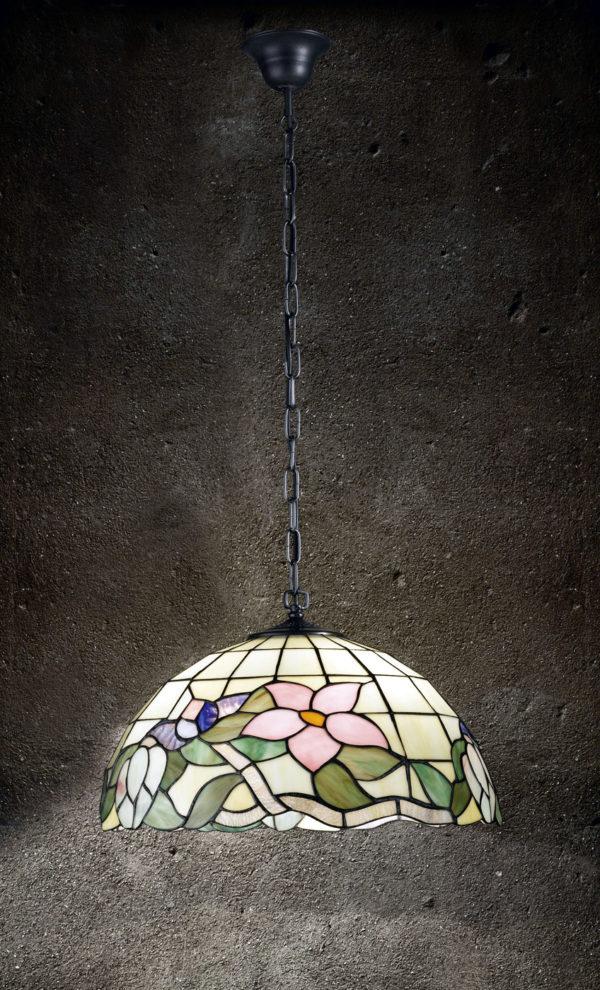 Sospensione Tiffany con catena. Mod.T614 S