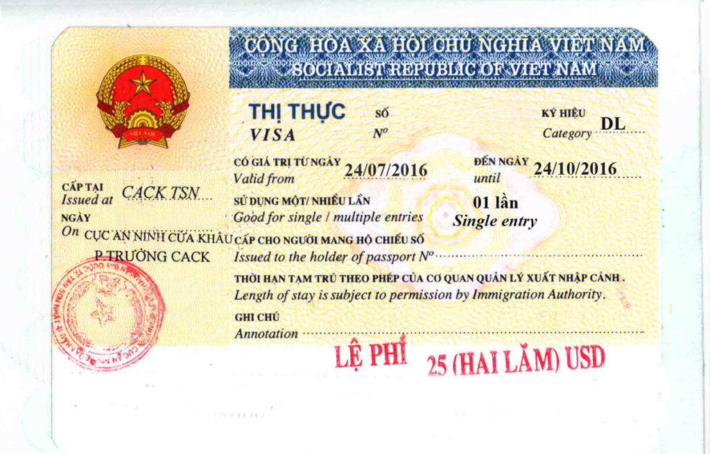 visto turistico per il Vietnam