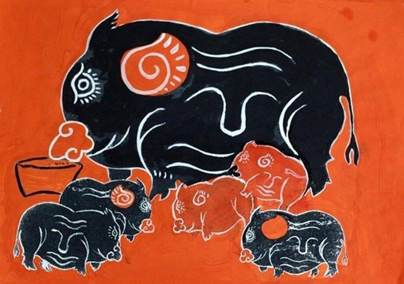 il maiale in un dipinto della tradizione Kim Hoang
