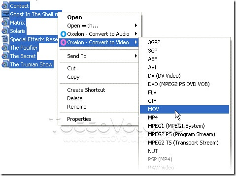 Oxelon Media Converter menu contestuale