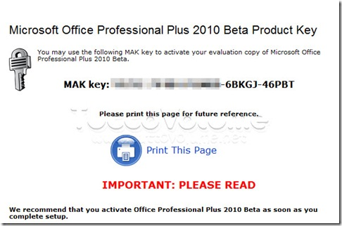 Office Professional Plus 2010 serial key