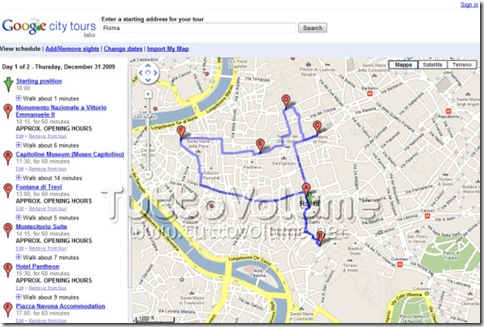Google City Tours Itinerario