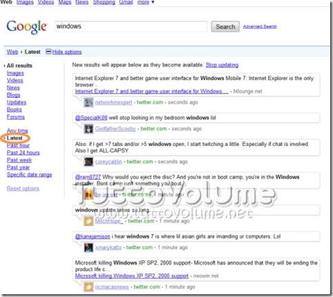 Google ricerche in tempo reale