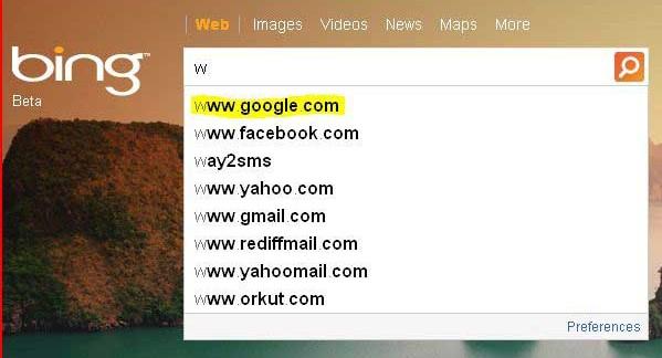 Bing search - wuto suggestion Google.com