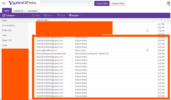 Hacked Yahoo mail account sending spam mails
