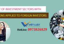 List of investment sectors with condtons applied to foreign invetors