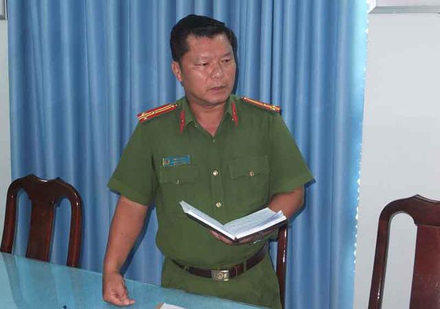Thượng tá Phan Tấn Ca - Phó trưởng phòng Cảnh sát hình sự Công an tỉnh Tiền Giang thông tin về vụ việc