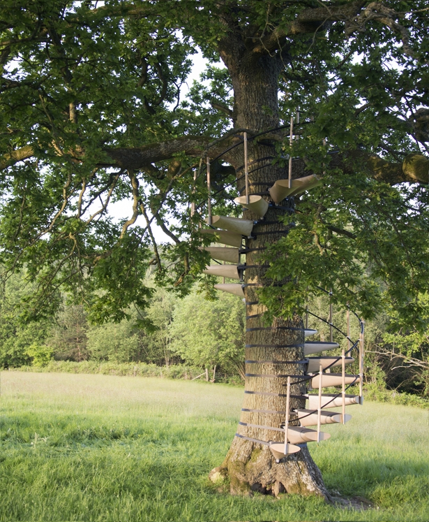 Canopystair Modular System To Form A Spiral Staircase Around A Tree Trunk Tuvie | Spiral Staircase Tree Trunk