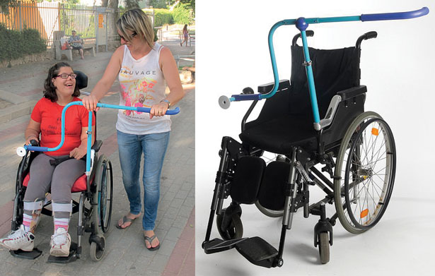 Side by Side Handle for Wheelchair Allows Caregiver to