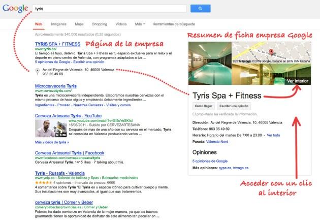 como se ve en las páginas una búsqueda de google