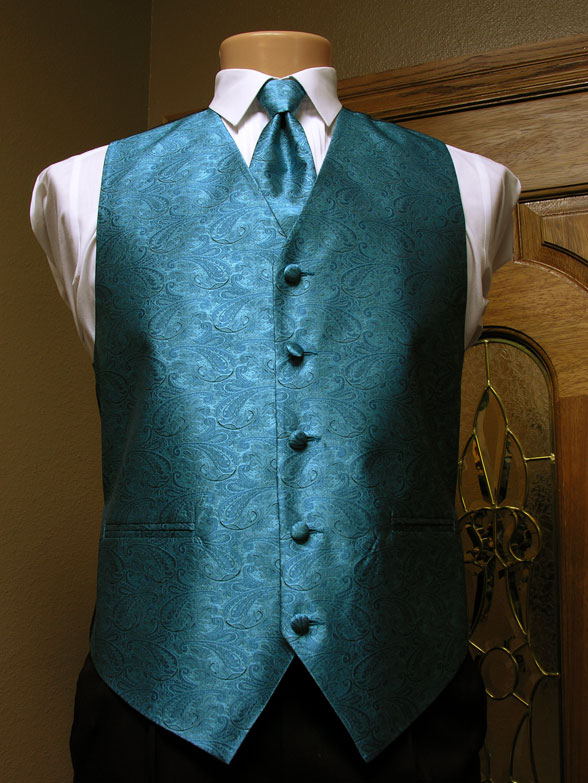 Turquoise Paisley Vest Mens Satin Vest With Adjustable