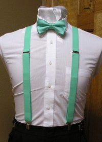 Mint Men's Suspender 1-Inch X Back With Mint Pre-Tied Bow ...