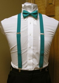 Teal Men's Suspender 1-Inch X Back With Teal Pre-Tied Bow ...