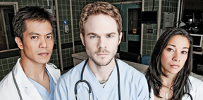 Byron Mann, Shawn Ashmore, Mayko Nguyen in Bloodletting & Miraculous Cures