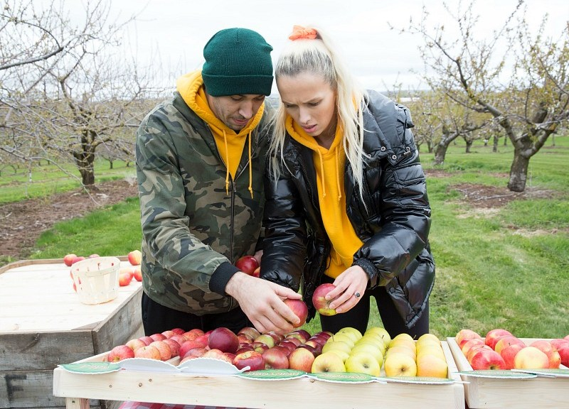 A man and woman pick through apples.