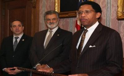 image of Matt Zone, Mayor Frank Jackson and Duane Deskins
