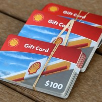 Image of gas gift cards given as incentive for Gun Buy-Back program 2016