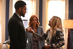 Almost Family chapter 8 L-R: Mustafa Elzein, Brittany Snow and Emily Osment