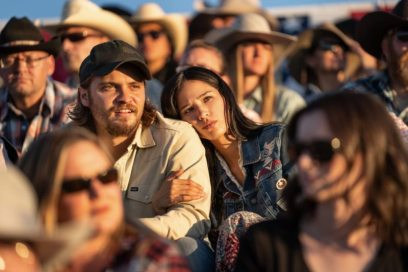Luke Grimes as Kayce Dutton and Kelsey Asbille as Monica Dutton. Episode 3 of Yellowstone