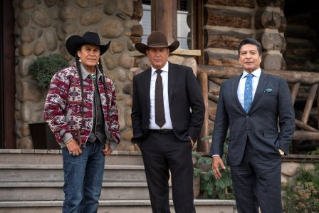 L-R) Moses Brings Plenty as Mo, Kevin Coster as John Dutton, and Gil Birmingham as Thomas Rainwater. Episode 5 of Yellowstone - Cowboys and Dreamers