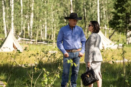 Yellowstone season 3 episode 4 - Going Back to Cali Kevin Costner as John Dutton and Wendy Moniz-Grillo as Governor Perry