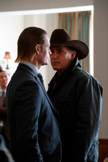 "(L-R) Josh Holloway as Roarke Morris and Kevin Costner as John Dutton. The Season Three Finale of Yellowstone - ""The World is Purple"" Premieres August 23rd at 9 P.M. on Paramount Network."
