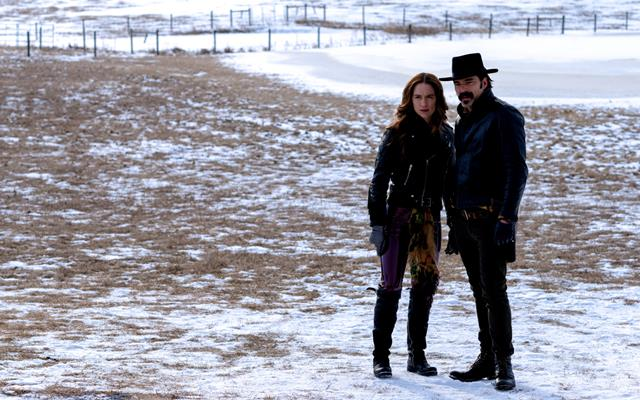 Wynonna Earp played by Melanie Scrofano and Doc Holliday, played by Tim Rozon, stars on Wynonna Earp Season 4 Episode 5