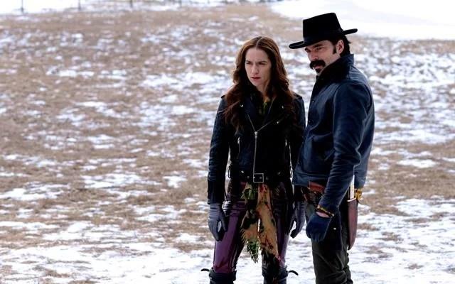 Wynonna Earp played by Melanie Scrofano and Doc Holliday, played by Tim Rozon, stars on Wynonna Earp Season 4 Episode 5