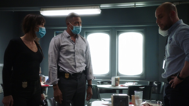 NCIS New Orleans Season 7 Episode 2. Pictured L-R Vanessa Ferlito as Special Agent Tammy Gregorio and Charles Michael Davis as Special Agent Quentin Carter