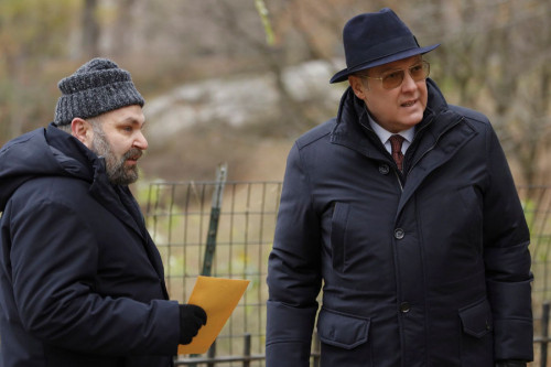 "THE BLACKLIST -- ""The Fribourg Confidence (#140)"" Episode 805 -- (Pictured: (l-r) Hisham Tawfiq as Dembe Zuma, James Spader as Raymond ""Red"" Reddington -- (Photo by: Will Hart/NBC)"