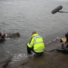 Safely filming at water's edge