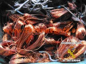 Foto cobre recuperado en Benavente