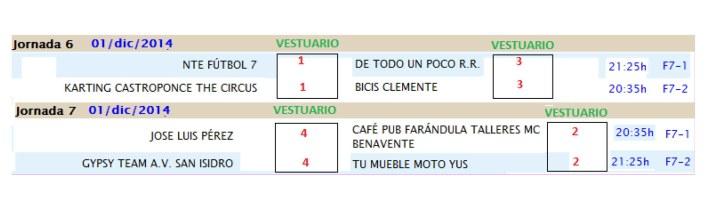 INFORMACIÓN JORNADA 5 Y 6 Y HORARIOS JORNADA 6 Y 7-4