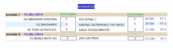 INFORMACIÓN JORNADA 6 Y 7 Y HORARIOS JORNADA 7 Y 8-4
