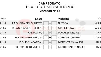 Photo of Liga Veteranos Fútbol Sala Benavente – Horarios Jornada 13